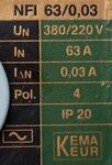 Schupa NFI 63/0,03 aardlekschakelaar 4P 63A 0,03A
