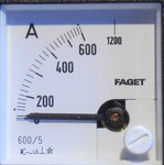 Faget Amperemeter paneelbouw EIV48 5-600A meter
