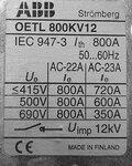 ABB Lastschakelaar 3P OETL 800KV12 1SCA022172R4840