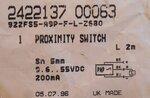 Honeywell 922FS5-A9P-F-L-Z380 Proximity Sensor schakelaal 2422137 00063