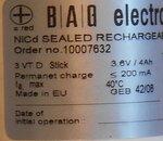 BAG 10007632 3VT D 3.6V 4Ah NiCd rechargeable batterij accu 2.4V