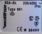 Walther 661 stekker 63A, 5P 400V 6h IP44