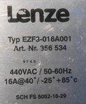 Lenze 356534 Rfi Filter 440VAC 50-60Hz 16A EZF3-016A001