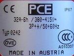 PCE 0242 stekker 32A 6h 380-415V 4P IP67