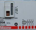 Bticino FC4A2/230 4NA CONTACTOR 20A 230VAC