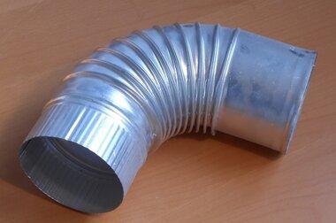 Plooibocht aluminium 90 graden Ø130mm kachelpijp