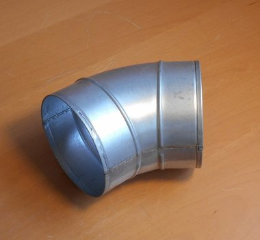 Geperste bocht gegalvaniseerd staal 45 graden Ø125mm