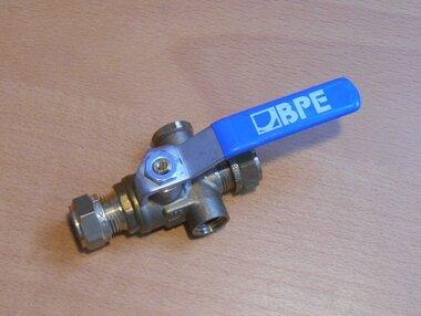 BPE Kogelstopkraan met aftapgelegenheid 12x12 mm knel