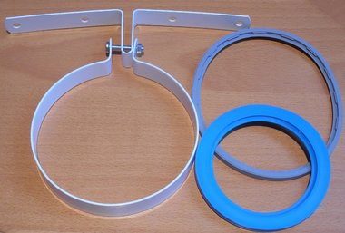 m&G dakdoorvoer beugel wit 124mm incl. rubber ringen