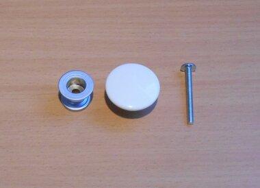 Deur knop set kunststof wit 31x31x17mm
