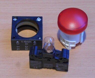 Siemens 22mm Signaallamp rood 24V BA9s 3SB3 217-6AA20