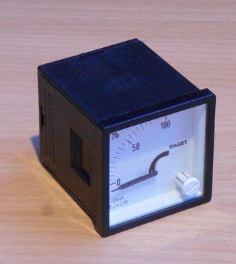 Faget procent meter Amperemeter paneelbouw DIV48 0-20mA 0-100% (excl. Bevestigingsmateriaal)