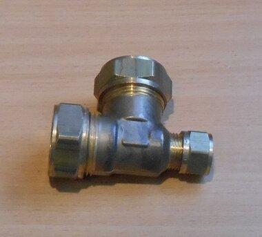 VSH Super 22x22x12 mm knelkoppeling T-stuk messing 0867152
