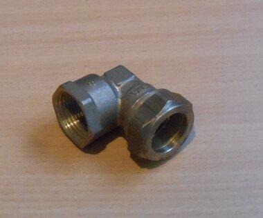 VSH knelkoppeling knie binnendraad 90° 22 x 3/4 mm messing