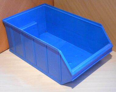 Overtoom nr. 1 Kunststof stapelbak magazijnbak 500 mm 30 l, blauw