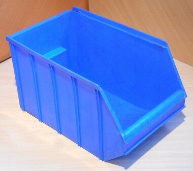 Overtoom nr. 2 Kunststof stapelbak magazijnbak 350 mm 14 l, blauw