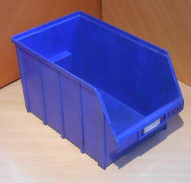 Overtoom nr. 2 Kunststof stapelbak magazijnbak 350 mm 14 l, donker blauw